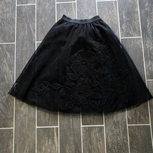Embroidered Black Tulle Skirt XS
